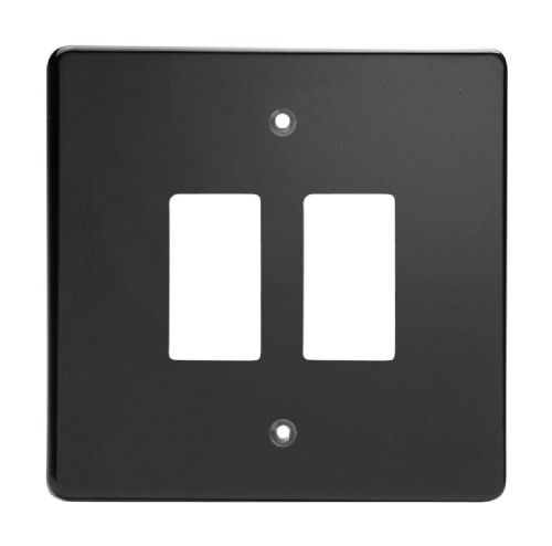 Varilight XDLPG2 PowerGrid Premium Black 2 Gang Grid Plate (Single Plate)